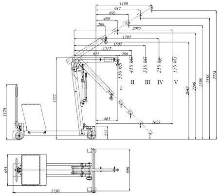 DOSTAWA GRATIS! 6177835 Żuraw hydrauliczny ręczny z przeciwwagą (udźwig: od 150 do 550kg)
