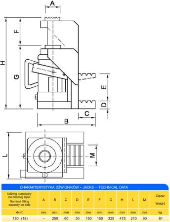 DOSTAWA GRATIS! 62725745 Podnośnik z bocznym podnoszeniem (udźwig: 18T)