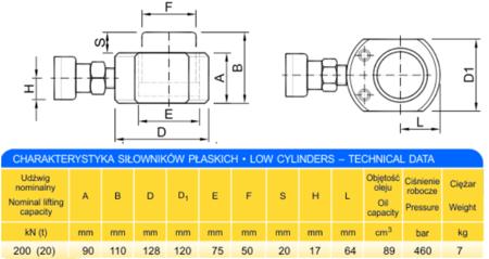 DOSTAWA GRATIS! 62725767 Siłownik płaski (wysokość podnoszenia min/max: 90/110mm, udźwig: 20T)