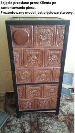 DOSTAWA GRATIS! 92238183 Piec grzewczy kaflowy 9,5kW Retro czterowarstwowy na drewno i węgiel (kolor: brąz, wysokość: 100cm)